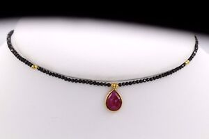 RED CHOKER BLACK SPINEL & RUBY STONE, STERLING SILVER ADJUSTABLE 12'-14' #40
