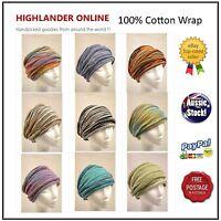 Nepal 100% Cotton Chemo wrap Headband Hijab Neck Warmer Loopy Scarf Hair Band