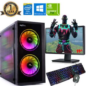 Fast Gaming PC Computer Bundle Intel Quad Core i5 16GB 1TB Window 10 2GB GT710
