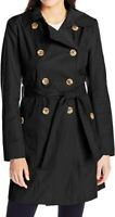 Anne Klein Womens Coat Deep Black Size Large L Light Weight Trench $115 737