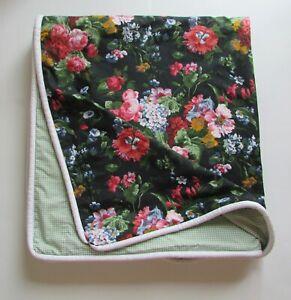 "Ralph Lauren Black Isadora Floral Gingham Custom Queen Coverlet Duvet Cover 83"""