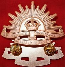 **AUSTRALIAN ANZAC WW1 & WW2 RISING SUN UNIFORM HAT OR CAP BADGE MEDALS