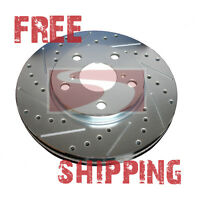FRONT + REAR SET Performance Cross Drilled Slotted Brake Disc Rotors TBS12467