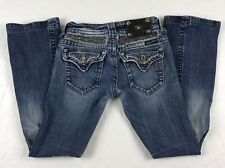 MISS ME Boot Cut Women's Jeans Low-Rise Distressed Embellished JP5002-40R Sz 25