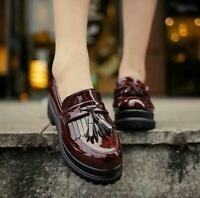 Womens Platform Tassel Patent Leather Creeper Slip On Loafers British Shoes