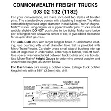 Micro-Trains 00302132 - 6-wheel Commonwealth Freight Trucks With Medium Exten...