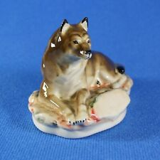 Wolf figurine Russian porcelain souvenirs Handpainted