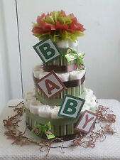 3 Tier B-A-B-Y Monkey Diaper Cake Baby Shower Gift Centerpiece