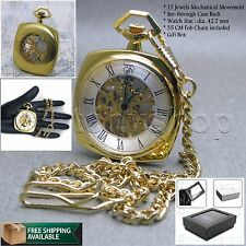 Mechanical Pocket Watch Gold Square Skeleton Men with Chain and Gift Box P16