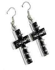 Silver Cross Spike Earrings w Black Inlay Cosplay Gothic Punk Metal Alternative