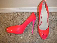 Alexander McQueen Hot Pink Patent Platform heart Peep Toe Heel Size 39