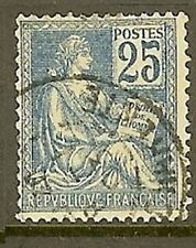 "FRANCE TIMBRE STAMP N° 118 "" TYPE MOUCHON , TYPE II, 25 C BLEU "" OBLITERE TB"
