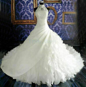 High Neck Wedding Dresses A Line Ruffles Lace Bridal Gowns 6 8 10 12 14 16 18++