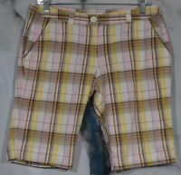 TRACY EVANS Beige Yellow Pink Brown Plaid Shorts 9 Four Pockets Stretch Cotton