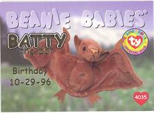 Ty Beanie Babies Bboc Card - Series 1 Birthday (Gold) - Batty the Bat - Nm/Mint