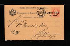 entier postal  carte   Autriche   marque  voyagée en 1882