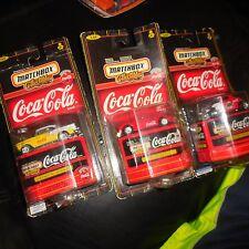 3 LOT MATCHBOX COCA COLA JAGUAR 1955 CHEVY BEL AIR & 1933 FORD COUPE REALRIDERS
