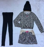 Children's Place Sweater & Skirt Set, Size 5/6, Cheetah Leopard, Hat & Tights