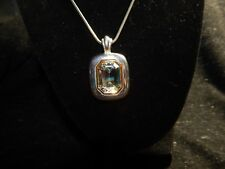 Silver Gold Tone Large Crystal Emerald Cut Gem PD w/ crown mark Necklace pendant