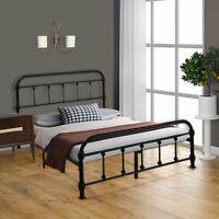 Queen/Full Size Metal Platform Bed Frame Mattress Foundation Steel Headboard