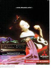 PUBLICITE ADVERTISING 116  1985  Mitsubishi tv hi-fi vidéo magnétoscope  H.S 307