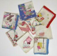 Vintage Children's Hankies Handkerchiefs Kids Lot Of 9 Mixed Lot