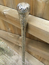Silver Plated Walking Stick Cane Pattern Embossed Design