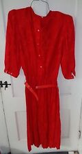 womens bright red pleated  silk dress by Argenti size 12