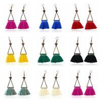 Women Fashion Bohemian Earrings Triangle Long Tassel Fringe Boho Dangle Earrings
