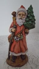 "11""H PORCELAIN STANDING SANTA WITH TREE, PUPPY, FRUIT BAG & WALKING STAFF"