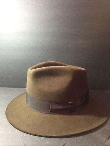 Indiana Jones Premium Genuine 100% Fur Felt Fedora Hat Brown Large