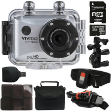 Vivitar DVR786HD HD Waterproof Action Camera Camcorder Silver with Accessories