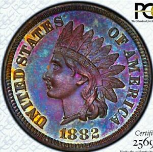 1882 PR65  INDIAN HEAD PENNY CENT * PROOF GORGEOUS RAINBOW.
