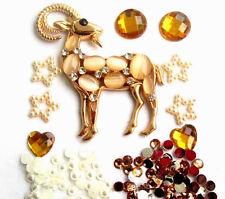 Gold crystal Antelope 3D DIY Mobile Cell Phone Case Alloy Crystal Deco Den Kit