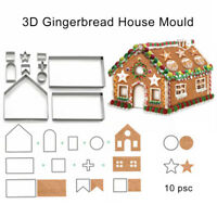 EE_ 10Pcs DIY Christmas Gingerbread House Cookie Biscuit Cutter Baking Mould New