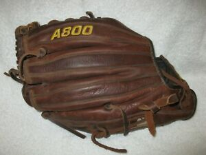 """Wilson A800 model 11 3/4"""" right handed thrower men's brown leather glove/mitt"""