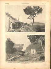 Chemin de fer à crémaillère de Monaco à la Turbie station Bordina GRAVURE 1894