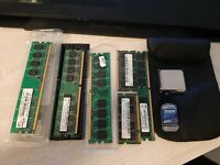 Lot 6 Ram + processeur Intel + pate zalman de gauche à droite ddr2 Pc5400  1Go P