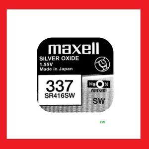 1 x 337 MAXELL -Knopfzelle-Silberoxid - Uhren-Batterie / SR416SW /  Blister