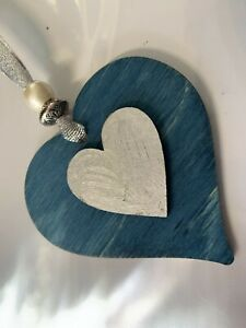 Blue Teal Silver Wooden Hearts hanging decoration sign plaque gift mother