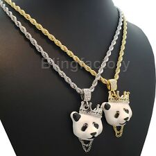 "Hip Hop Iced Lab Diamond Panda King Pendant & 4mm 24"" Rope Chain Necklace"