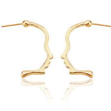 Simple Gold Plated Face Outline Ear Stud Earrings Women Earrings Jewelry GiftsKK