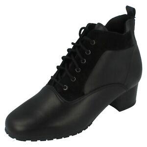 Ladies Elmdale Black Leather Lace Up Ankle Boot HERO EEE