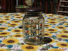 VTG Anchor Hocking Glass Canister/Jar w/Wooden Lid, painted w/flowers, PRE-OWN