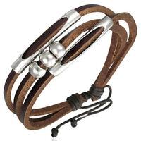 Bracelet homme ajustable Zense ZB0092  cuir marron boules cylindres acier