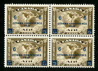 Canada Stamps # C4 VF OG NH Block 4 Scott Value $280.00
