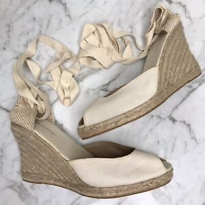 Country Road Cream Beige Espadrilles Wedges Shoes Size 42 Tie Jute Woven Womens