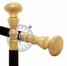 Brass Golden Head Plain Knob Handle Vintage Wooden Cane Walking Stick Gift
