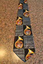 Lot Of Baritone Horns & Musical Notes On A New Black 100% Polyester Neck Tie! #2