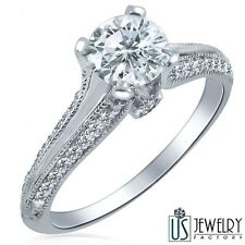 100% Natural Round Diamond Engagement Ring 14k White Gold 0.83 Carat (0.51)F/SI2